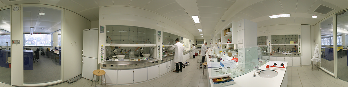 Photo of the inside of a typical synthesis research laboratory in the CRL