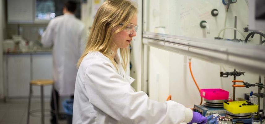 Photo of person in a laboratory using a fumehood