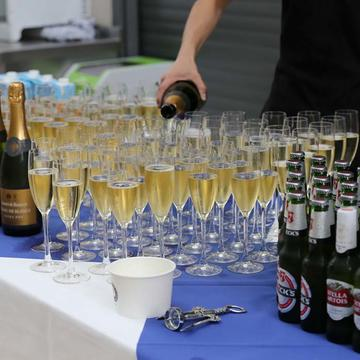 Photo of bottles of fizz prior to a celebration